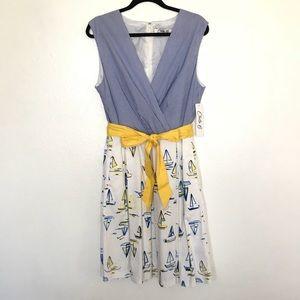 Chetta B. Fit & Flare Stripe Dress NWT 16 Blue Q